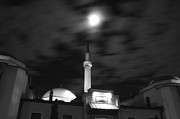 Sarajevo Posters - Moonlight over Mosque in Sarajevo Poster by Mountain Dreams