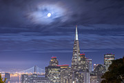 Moonlight Framed Prints - Moonlight Over San Francisco Framed Print by David Yu