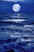 Sea Moon Full Moon Photo Metal Prints - Moonlight Over The Ocean Metal Print by Christian Lagereek