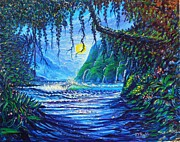 Seren Prints - Moonlight Path to Paradise Print by Joseph   Ruff