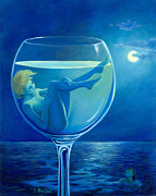 Reflections Of Sky In Water Paintings - Moonlight Rendezvous by Sandi Whetzel