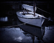 Blue Sailboat Metal Prints - Moonlight Sail Metal Print by Amy Weiss