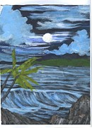 Night Out Paintings - Moonlight Seascape by Shefali Pandit