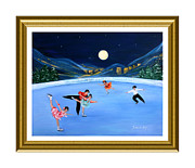 Skating Paintings - Moonlight Skating. Inspirations Collection. Card by Oksana Semenchenko