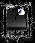 Black And White Surf Photos Posters - Moonlight surf Poster by Athala Carole Bruckner