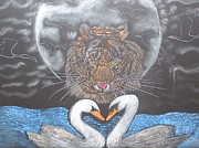 Swans... Drawings - Moonlight Tiger with Swans by Nicole Burrell