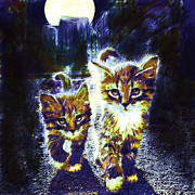 Kittens Digital Art Prints - Moonlight Travelers Print by Jane Schnetlage