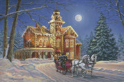 Winter Travel Painting Posters - Moonlight Travelers Poster by Richard De Wolfe