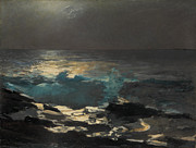Famous Artists - Moonlight. Wood Island Light by Winslow Homer