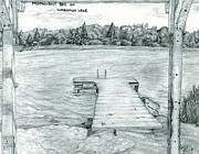 Dock Drawings - Moonlit Bay by Amy Frank