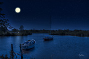 Docked Sailboats Posters - Moonlit Bayou Poster by Barry Jones