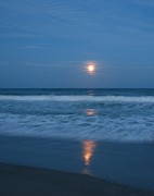 Sea Moon Full Moon Posters - Moonlit Beach Poster by Peggy Burley