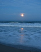 Sea Moon Full Moon Posters - Moonlit Beach Too Poster by Peggy Burley