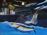 Marlin Azul Framed Prints - Moonlit Blue Framed Print by Kevin  Brown