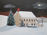 Snowy Night Paintings - Moonlit Cottage by Stephanie Hess