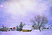 Farm Scene Photos - Moonlit Farm by Theresa Tahara