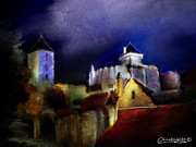 Stone Buildings Mixed Media - Moonlit Fort by Chris Knights