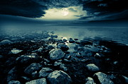 Stones Digital Art Prints - Moonlit lake Print by Jaroslaw Grudzinski