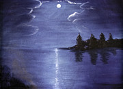 Judy Hall-folde Posters - Moonlit Lake Poster by Judy Hall-Folde