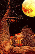 Forboding Prints - Moonlit Landscape Fantasy Digital Painting Print by A Gurmankin