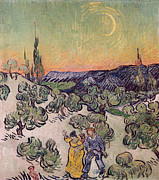 Moon Paintings - Moonlit Landscape by Vincent Van Gogh
