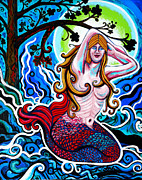 Mermaid Artwork On Canvas Framed Prints - Moonlit Mermaid Framed Print by Genevieve Esson