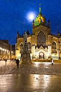 Moonlit Scene Prints - Moonlit Night At  St Giles Cathedral Print by Mark E Tisdale