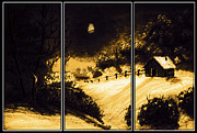 Peaceful Scene Paintings - Moonlit Night Triptych by Barbara Griffin