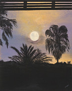Moonscape Painting Prints - Moonlit Palms in Florida Print by Donna Mann