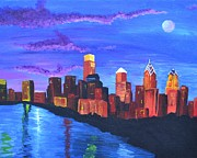 Philadelphia Pa Painting Posters - Moonlit Philly Poster by Jennifer Virgin