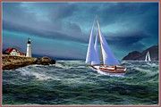 Nubble Lighthouse Prints - Moonlit Portland Bay Print by Ronald Chambers