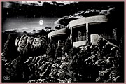 Pot Drawings Metal Prints - Moonlit Sadona Clubhouse Metal Print by Ronald Chambers