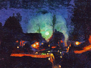 Moonlit Night Mixed Media Framed Prints - Moonlit Street Framed Print by Chris Reed