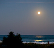 Sea Moon Full Moon Photo Prints - Moonlit Stroll Print by Michelle Wiarda