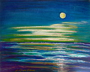 Tide Pastels Prints - Moonlit Tide Print by D Renee Wilson