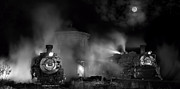 Narrow Gauge Steam Engine Prints - Moonlit Twins Print by Ken Smith