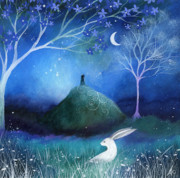 Moon Painting Posters - Moonlite and Hare Poster by Amanda Clark