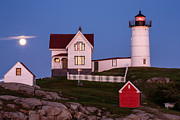 Cape Neddick Lighthouse Posters - Moonrise at Nubble Light York Maine Poster by Dawna  Moore Photography