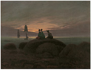 Caspar Framed Prints - Moonrise at the Sea Framed Print by Caspar David Friedrich
