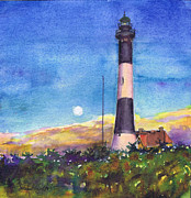 Long Island Paintings - Moonrise Fire Island Lighthouse by Susan Herbst