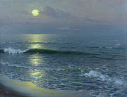 Sailboat Paintings - Moonrise by Guillermo Gomez y Gil