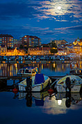 Typical Framed Prints - Moonrise in Karlskrona Framed Print by Inge Johnsson