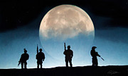 Navy Seals Framed Prints - Moonrise Mission Framed Print by Peter Chilelli