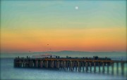 Dusk Digital Art Originals - Moonrise over Alcatraz by Alberta Brown Buller