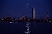 Moonrise Over Boston Skyline July 1982 Print by Thomas Marchessault