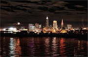 Behm Framed Prints - Moonrise over Cleveland Skyline Framed Print by Daniel Behm