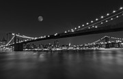 Skylines Metal Prints - Moonrise over Manhattan BW Metal Print by Susan Candelario