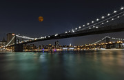 Brooklyn Bridge Posters - Moonrise over Manhattan II Poster by Susan Candelario