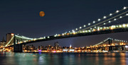 Twilight Prints - Moonrise over Manhattan Print by Susan Candelario