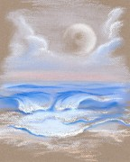 Sea Moon Full Moon Pastels Prints - Moonrise Over Myrtle Beach Print by MM Anderson